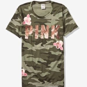 VS PINK CAMO FLORAL BLING CAMPUS TEE ~L